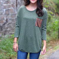 Sequin Pocket Knit {Olive}
