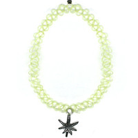 Weed Leaf Translucent Green Tattoo Choker