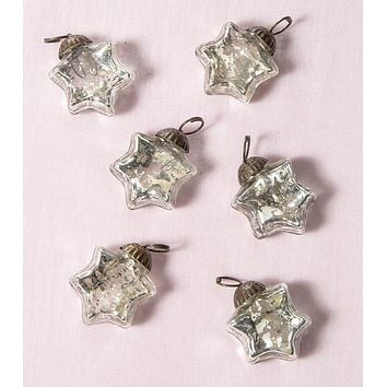 6 Pack   Mini Mercury Glass Star Ornaments (1 to 1.5-Inch, Silver, Imogen Design) - Great Gift Idea, Vintage-Style Decorations for Christmas and Home Decor
