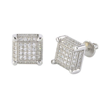 Mens Womens Screwback Earrings Sterling Silver White CZ Studs 9mm Square 3d