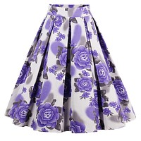 A-Line Pleated Printed Skirts, Purple Flowers, Sizes XSmall - 3XLarge