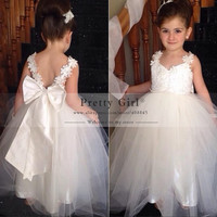2016 Lovely Long Ball Gown Flower Girls Dresses for wedding With Appliques Junior Bridesmaid Dress first communion Pageant Dress