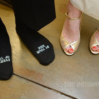 """Father of the Bride socks """"BY YOUR SIDE EVERY STEP OF THE WAY"""" wedding gift"""
