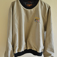 Tan Windbreaker Sweatshirt Oversized Vintage 90s L