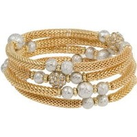 Heirloom Finds Gold Toned Mesh Bracelet with Silver Toned Star Dust Beads and Crystal Rondelles will Fit All: Jewelry: Amazon.com