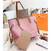 LV Louis Vuitton Fashion Women Leather Tote Handbag Shoulder Bag Purse Wallet Set Two-Piece Pink