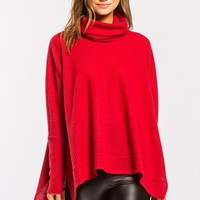Cowl Neck Thermal Top - Red
