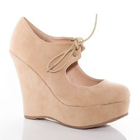 Gemini Touch The Sky Faux Suede Round Toe Platform Wedges - Camel