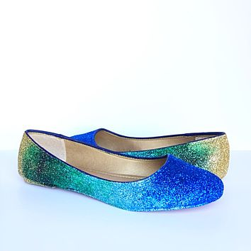 Peacock Glitter Flats, Blue Green Gold Ombre Ballet Shoes