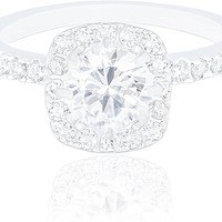 18k White Gold Plated Cushion Halo Cubic Zirconia Engagement Ring (1.90 carats)
