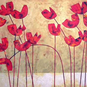 """Poppy Painting - """"Red Hot Poppies"""" -  30"""" X 40"""" - SOLD"""