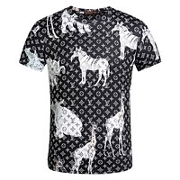 LV Louis Vuitton Fashion Men Casual Shirt Top Tee Black