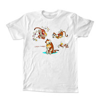 Calvin and Hobbes all For T-shirt Unisex Adults size S-2XL Black and White