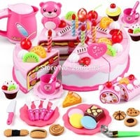 80PCS/Set Cake Food Kitchen Plastic Tea Cup Pretend Play Dishes Cutting Birthday Kettle Cookies Toys Kid Gifts Early Educational