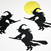 """12 Large Black Witch Die Cuts, Witch With Broom, Black Witch Punch, Halloween Witch Die Cut (3x3 5/8"""")"""