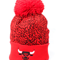 Chicago Bulls Cracked Pattern Beanie (Red/Red)