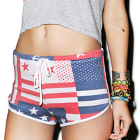 Wildfox Couture US Flag Pool Party Shorts Multi