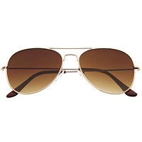 Modern Flat Front Wire Metal Aviator Sunglasses A182