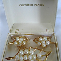 Cultured Pearl Pin and Matching Earrings