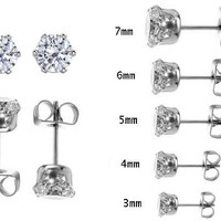 5 Pair Set Round Sparkling Clear Cubic Zirconia Stud Earrings Set