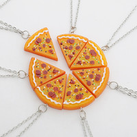 7pcs Emulational Pizza Pendant Necklaces Friendship Necklace Best Friends Forever Creative Keepsake Memorial Day Christmas Gift
