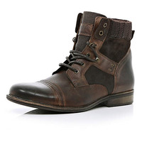 Brown contrast panel military boots - boots - shoes / boots - men