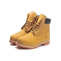 Timberland Boos With Fur Upper Leather Wheat yellow
