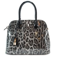 Sofia Bellina's ALFA High Gloss PU Leather Purse (Leopard Skin)