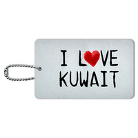 I Love Kuwait Written on Paper ID Card Luggage Tag