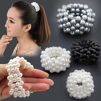 Fashion Handmade Pearl Beaded Hair Tie