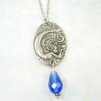 Mermaid Necklace, Antique Silver Mermaid Pendant with Blue Glass Teardrop Bead Dangle Sea Nymph
