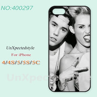 Phone Cases, iPhone 5/5S Case, iPhone 5C Case, iPhone 4/4S Case, Phone covers, Justin bieber and Miley cyrus, Case for iPhone-400297