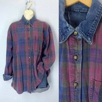 Vintage 80s Grunge Denim Shirt, Pink Blue Plaid Shirt, Slouchy Shirt, Denim Blouse, Size XL