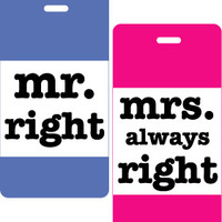 Mr. & Mrs. Right 2 pc Luggage Tag Set