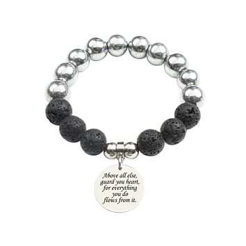 Genuine 12mm Lava and Hematite Mix Inspirational Bracelet by Pink Box