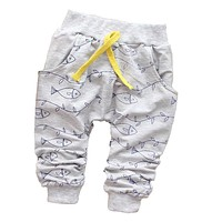 New 2017 Spring Lovely Fish Baby Pants Fashion Boy Newborn Baby Pants Brand Cotton Children's Pants Clothing Autumn 7-24M