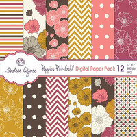Digital Floral Paper Pack, Poppies in Pink Brown & Gold, 12x12 Instant Download