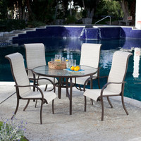 5 Piece Patio Furniture Dining Set with High Back Padded Sling Seats
