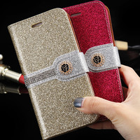 i6 6S Plus Sparkling Glitter Diamond Rose Flip Leather Case for Apple iPhone 6 6S For iPhone 6 6S Plus Wallet Stand Photo Cover