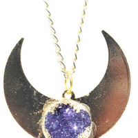 Gold Plated Druzy Amethyst Half Moon Pendant Necklace