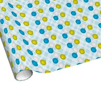 Blue Yellow and White Balloons Wrapping Paper