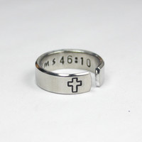 Bible Verse Psalms 46:10 Ring, Custom Bible Verse Ring, Personalized Religious Jewelry, Cross Ring, Hand Stamped Aluminum Ring