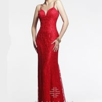 Faviana 7439 - Red Lace Open Back Mermaid Prom Dresses Online