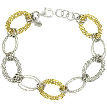 Womens gift, two tone bracelet, gift for her, Sterling Silver Linked Bracelets Diamond Cut Yellow Gold Finish, 5/8 inch (15 mm) wide