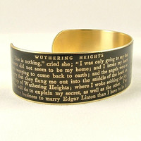 Book Text Jewelry - Wuthering Heights - Emily Bronte Literary Quote - Slim Brass Cuff Bracelet in Charcoal