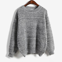 Hot  Elegant  Sweater Pullover Loose Bat Sleeve Retro Multi Color Thick Knitted Oversized Sweater Pull Jumper