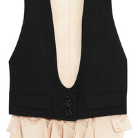Chloé - Wool-twill and silk crepe de chine vest