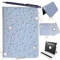 NEW! Pearl! Jersey Bling® iPad 2/3/4 or Mini Crystal & Rhinestone Leather Folio Case Cover with Built In Stand and FREE Stylus (iPad Mini)