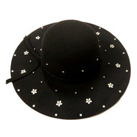 Black Beaded Floral Knot Fedora Hat
