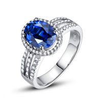 Sterling Silver 4 Carats Oval Sapphire Ring